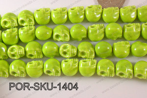 Porcelain Skull 11x14mm green POR-SKU-1404