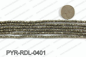 Pyrite rondelle faceted 4mm PYR-RDL-0401