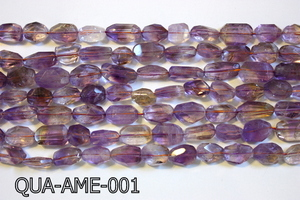 Ametrine Quartz Faceted Nugget 10x14mm QUA-AME-001