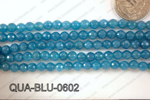 Blue Quartz Round Faceted 6mm QUA-BLU-0602