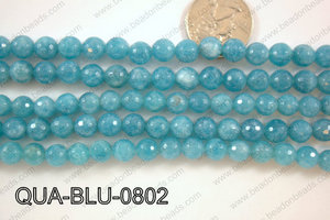 Dyed Blue Quartz Faceted Round 8mm QUA-BLU-0802