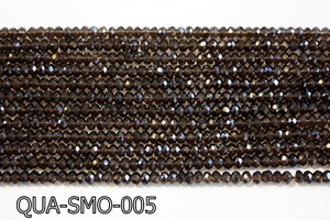 Smoky Quartz Faceted Rondel 4x6mm QUA-SMO-005