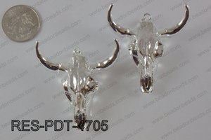 Resin ox head pendant with electroplating silver RES-PDT-4705