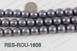 Resin round satin 16mm purple RES-ROU-1608