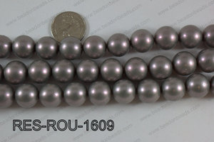 Resin round satin 16mm grey RES-ROU-1609