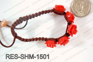 Resin Rose Shamballa Bracelet 15mm Red RES-SHM-1501