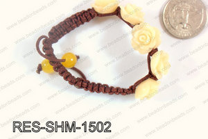 Resin Rose Shamballa Bracelet 15mm Beige RES-SHM-1502