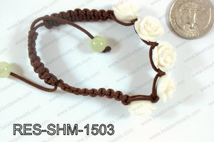 Resin Rose Shamballa Bracelet 15mm White RES-SHM-1503