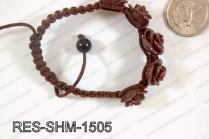 Resin Rose Shamballa Bracelet 15mm Brown RES-SHM-1505