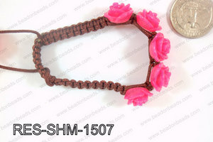Resin Rose Shamballa Bracelet 15mm Pink RES-SHM-1507