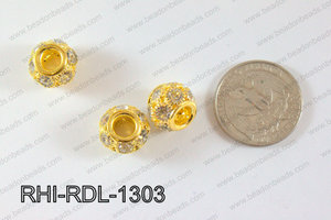 Rhinestone ball Rondelle 13mm Gold RHI-RDL-1303