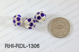 Rhinestone ball Rondelle 13mm dark blue RHI-RDL-1306