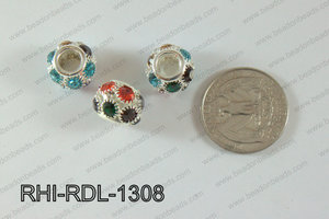 Rhinestone ball Rondelle 13mm multi RHI-RDL-1308