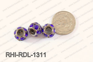 Rhinestone ball Rondelle 13mm gun metal/ dark blue RHI-RDL-1311