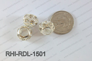Rhinestone ball Rondelle 15mm light silver RHI-RDL-1501