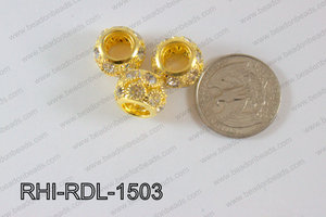 Rhinestone ball Rondelle 15mm gold RHI-RDL-1503