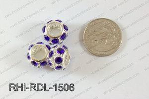 Rhinestone ball Rondelle 15mm dark blue RHI-RDL-1506