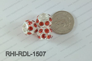 Rhinestone ball Rondelle 15mm red RHI-RDL-1507