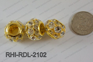 Rhinestone ball Rondelle 15x21mm gold RHI-RDL-2102