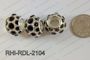 Rhinestone ball Rondelle 15x21mm black RHI-RDL-2104