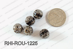 Rhinestone ball Round 12mm gun metal/black RHI-ROU-1225