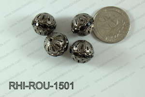 Rhinestone ball Round 15mm gun metal/black RHI-ROU-1501
