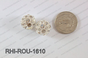Rhinestone Balls Round 16mm Light Silver RHI-ROU-1610
