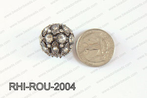 Rhinestone ball Round 20mm gun metal RHI-ROU-2004