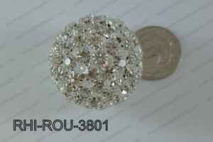 Rhinestone Balls Round 38mm light silverRHI-ROU-3801