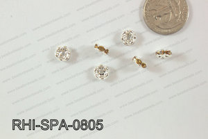 Rhinestone Spacers Curved/Silver/Yellow 8mm RHI-SPA-0805