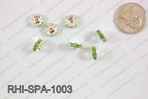 Rhinestone Spacers 10mm RHI-SPA-1003 Silver/Light Green