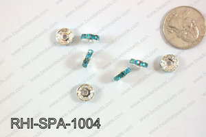 Rhinestone Spacers 10mm RHI-SPA-1004 Silver/ Light Blue