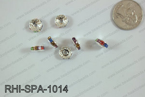 Rhinestone Spacers 10mm RHI-SPA-1014 Silver/multi
