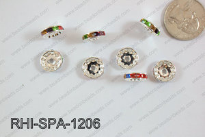 Rhinestone Spacers 12mm RHI-SPA-1206 Silver/multi