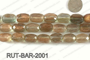 Imitation rutilated quartz faceted barrel 15x20mm RUT-BAR-2001
