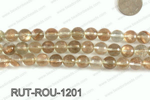 Imitation rutilated quartz faceted round 12mm RUT-ROU-1201