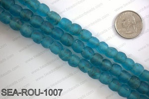 Sea glass beads 10mm SEA-ROU-1007