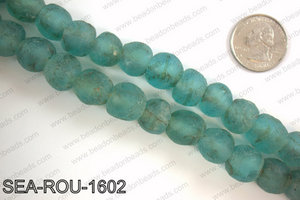 Sea glass beads 16mm SEA-ROU-1602