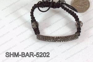 Bar Shamballa Bracelet Gun Metal 52mm SHM-BAR-5202
