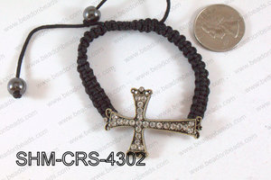 Cross Shamballa Bracelet Bronze 43x31mm SHM-CRS-4302
