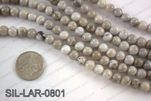 Large hole silver leaf jasper round 8mm SIL-LAR-0801