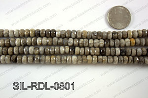 Silver Leaf Jasper rondelle faceted beads 8mm  SIL-RDL-0801