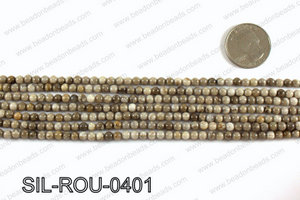 Silver leaf jasper beads 4mm SIL-ROU-0401