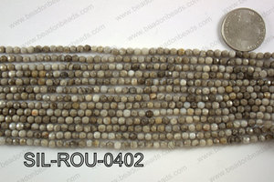 Silver Leaf Jasper round faceted beads 4mm  SIL-ROU-0402