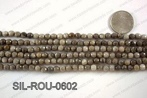 Silver Leaf Jasper round faceted beads 6mm  SIL-ROU-0602