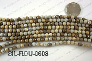 Silver Leaf Jasper round faceted beads 6mm  SIL-ROU-0603