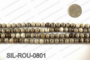 Silver leaf jasper beads 8mm SIL-ROU-0801