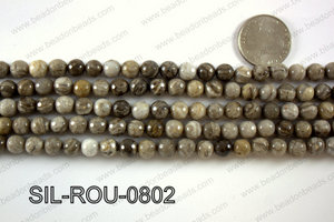 Silver Leaf Jasper round faceted beads 8mm  SIL-ROU-0802