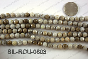 Silver Leaf Jasper round faceted beads 8mm  SIL-ROU-0803