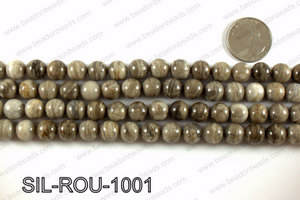 Silver leaf jasper beads 10mm SIL-ROU-1001